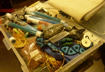 The beads and jewellery I made sure to put in my hand-luggage