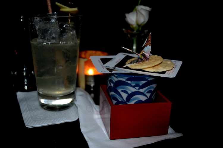 Ginza cocktail complete with origami bird