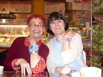 Merle and Suzanne Golden modelling beadwork