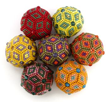 Geometric Beaded Beads - Peyote Stitch - image copyright © Jean Power