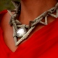 Heroine Necklace Materials Kit-Red Magma And Silver